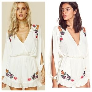 Lovers + Friends White Embroidered Romper